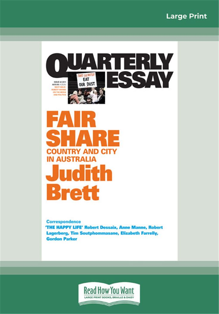 Quarterly Essay 42 Fair Share